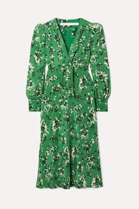 Veronica Beard Amber Floral-print Silk-blend Midi Dress - Green
