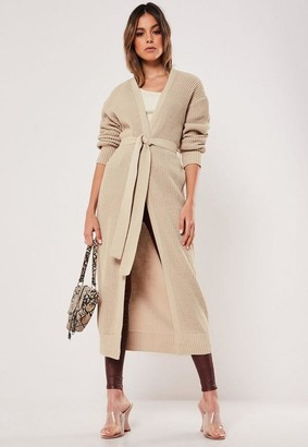 Missguided Sand Belted Maxi Knit Cardigan