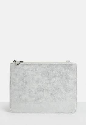 Missguided Silver Zip Top Travel Wallet Purse