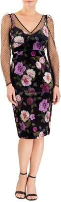 Forest Lily Mesh Floral Velvet Sweetheart Dress
