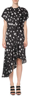 Kenzo Gathered Rose-Print Asymmetric Midi Dress