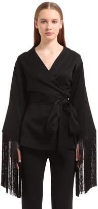 Ellery Fringed Crepe Kimono Top