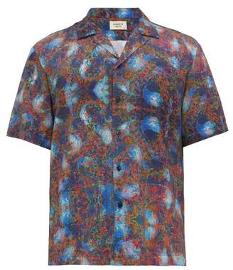 Everest Isles - Oil Spill Print Poplin Shirt - Mens - Blue