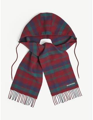 Balenciaga Tartan wool hooded scarf