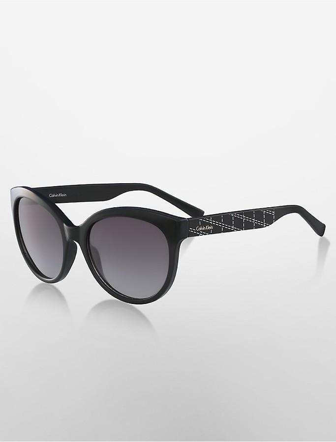 Calvin KleinRound Grid Sunglasses