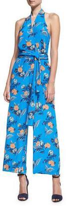 Diane von Furstenberg Halter-Neck Wrap-Front Jumpsuit, Blue Pattern $468 thestylecure.com