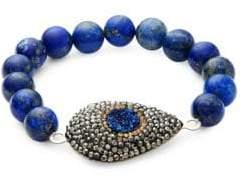 Lapis Blue Druzy Beaded Bracelet