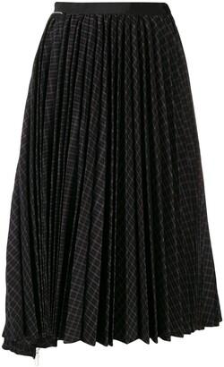 Sacai asymmetric pleat midi skirt