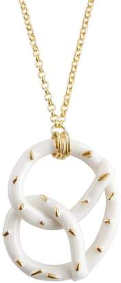 POPORCELAIN - Golden Salted Porcelain Pretzel Pendant Necklace