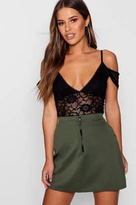 boohoo Petite Zip Front Mini Skirt