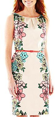 JCPenney 9 & Co.® Belted Mirror Sheath Dress