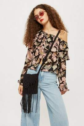 Topshop Floral frill off shoulder top