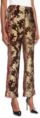 F.R.S For Restless Sleepers Mid-Rise Metallic Devore Foliage Applique Cuffed Pants