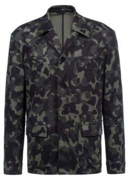 HUGO Boss Regular-fit blazer in patterned stretch cotton 36R Dark Green