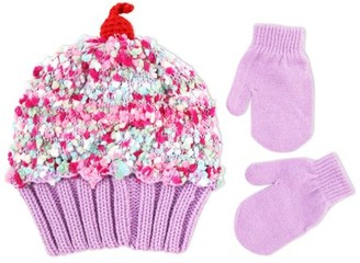 ABG Accessories Cup Cake Style Beanie and Mittens Cold Weather Set, Toddler Girls, Age 2-4