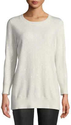 Neiman Marcus Cashmere Sequined Crewneck Sweater