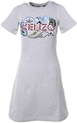 Kenzo Logo-embroidery Cotton-fleece Dress