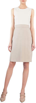 Akris Sleeveless Bicolor Sheath Dress