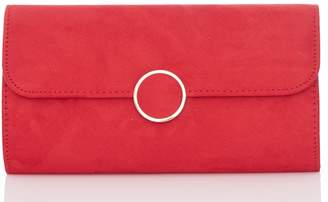 Quiz Olivia's Red Faux Suede Circle Trim Bag