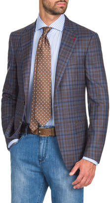 Isaia Men's Two-Tone Check Two-Button Jacket, Blue/Brown
