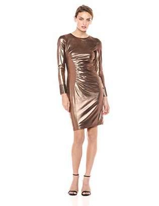 Calvin Klein Women's Long Sleeve Metallic Cocktail Dress with Side Ruche
