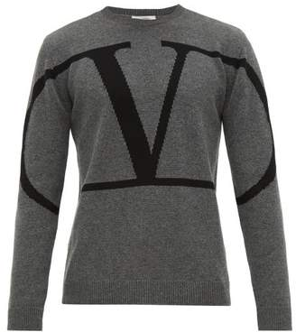 Valentino Intarsia Logo Cashmere Sweater - Mens - Grey