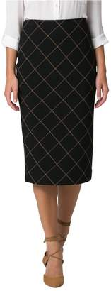 Le Château Women's Windowpane Midi Pencil Skirt