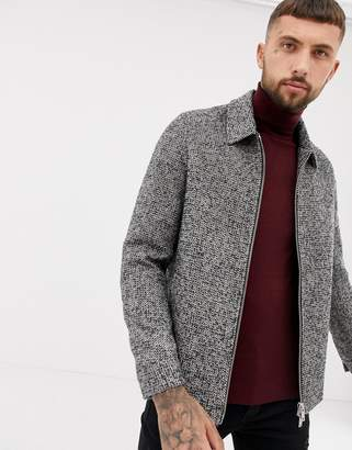 9818d18f5c86 Asos Design DESIGN wool mix zip through jacket in gray check