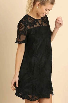 Umgee Black Lace Shift Dress