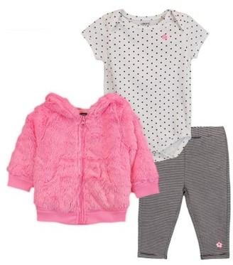 Limited Too Bear Ear Zip-up Hoodie, Short Sleeve Bodysuit, & Leggings, 3pc Outfit Set (Baby Girls)