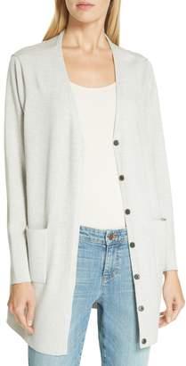 Eileen Fisher Snap Front Merino Wool Cardigan