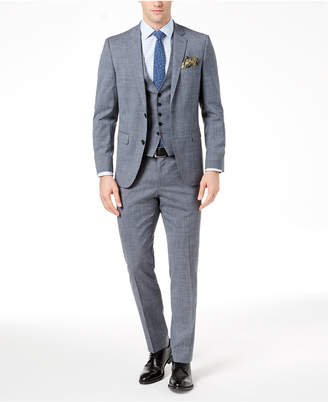 HUGO BOSS HUGO Men's Modern-Fit Stretch Gray/Blue Glen Plaid Vested Suit