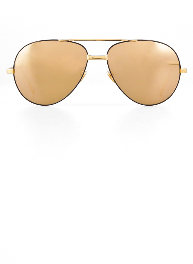 Linda Farrow Luxe 24 Karat Gold Sunglasses