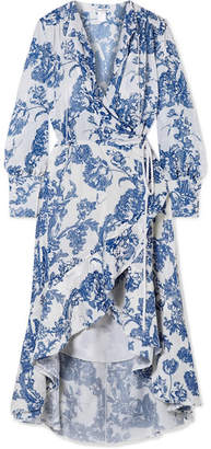 Oscar de la Renta Ruffled Devoré-chiffon Wrap Midi Dress - White