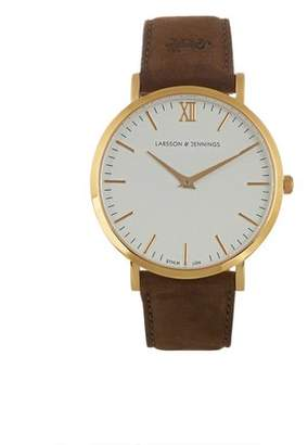Larsson & Jennings Lugano Gold Plated And Leather Watch - Mens - Brown Multi