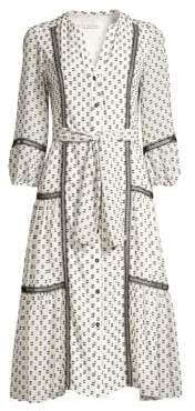 Shoshanna Women's Sandrelli Printed Button-Front Dress - Jet Ivory - Size 0