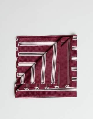 Asos DESIGN striped pocket sqaure in burgundy
