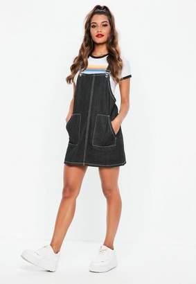 Missguided Black Denim Contrast Stitch Pinafore Dress
