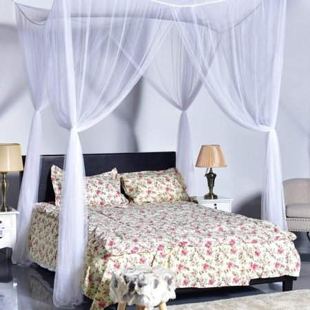 Thalia Four Corner Post Elegant Mosquito Net Bed Canopy Set, White, Full/Queen/King, 86.6x78.7x98.4 Inches