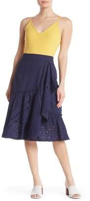 Trina Turk Vallejo Eyelet Knit Embroidered Skirt
