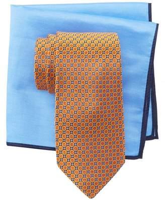 Ted Baker Split Circle Neat Silk Tie & Pocket Square Set