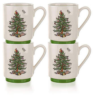 Spode Christmas Tree Set of 4 Stacking Mugs