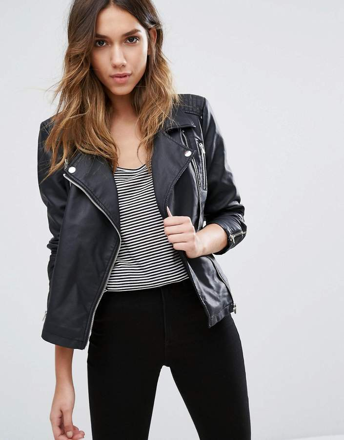 Only Faux Leather Biker Jacket With Zip Detail