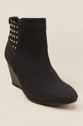 XOXO Barnett Studded Back Wedge Ankle Boot - Black
