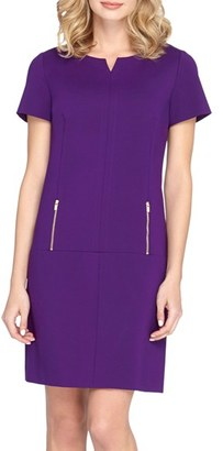 Women's Tahari Zip Pockets Ponte Shift Dress $128 thestylecure.com