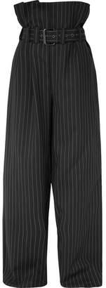 Gareth Pugh Belted Pinstriped Wool-blend Wide-leg Pants - Black