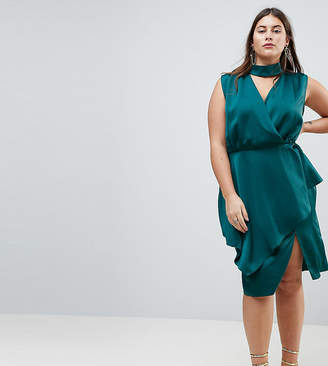 Asos Slinky Wrap Skirt Midi Dress With Neck Choker