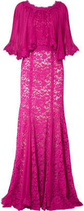 Dolce & Gabbana - Cape-effect Chiffon And Corded-lace Gown - Magenta