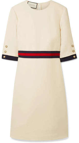 Gucci - Grosgrain-trimmed Wool And Silk-blend Mini Dress - Cream