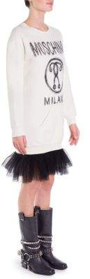 Moschino Logo& Tulle Hem Sweatshirt Dress